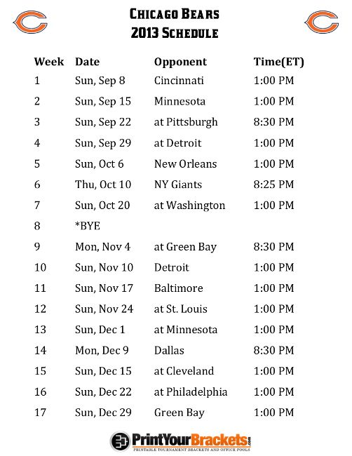 bears schedule 2013 | Printable Chicago Bears Schedule - 2013 Football Season