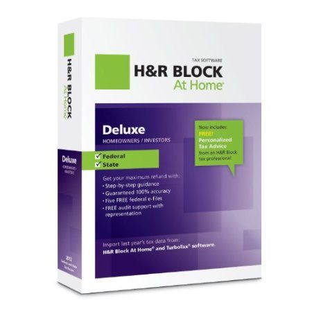 H Block At Home Deluxe includes everything needed to easily complete federal and state taxes, plus the tax expertise you can trust. With an easy-to-use interface, H Block At Home Deluxe searches for hundreds of deductions to get the biggest refund. Ideal for homeowners and investors, the program includes personalized tax guidance and features available only from H Block, such as built-in expertise and audit support, expert advice from our community of tax specialists. Price: $23.45