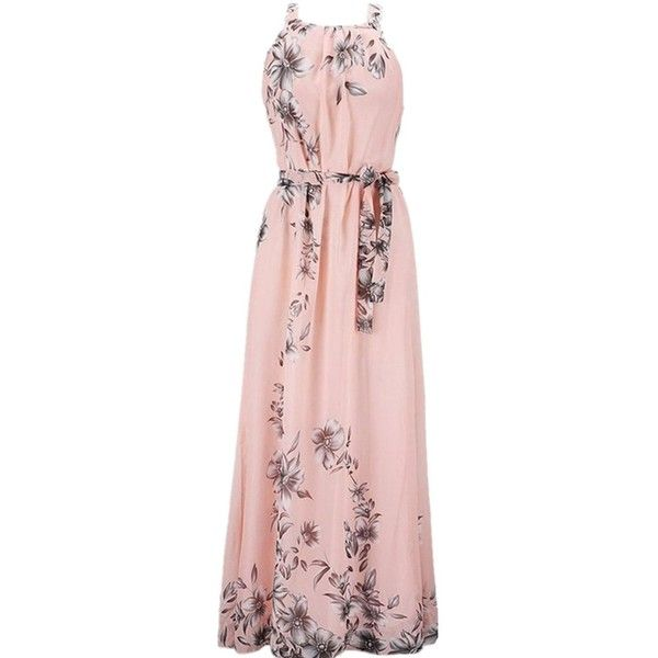 Yougao® Women's Chiffon Printed Summer Beach Maxi Dresses at Amazon... ($24) ❤ liked on Polyvore featuring dresses, vestidos, summer dresses, beach style dresses, beach dresses, summer day dresses and pink dress
