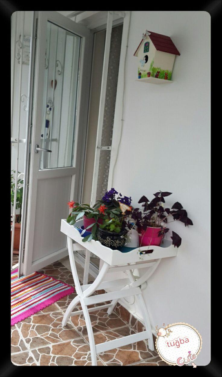 Çiçek sehpası.. kuş evi.. ahsap boyama..