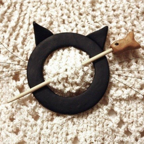 Cat Shawl Pin