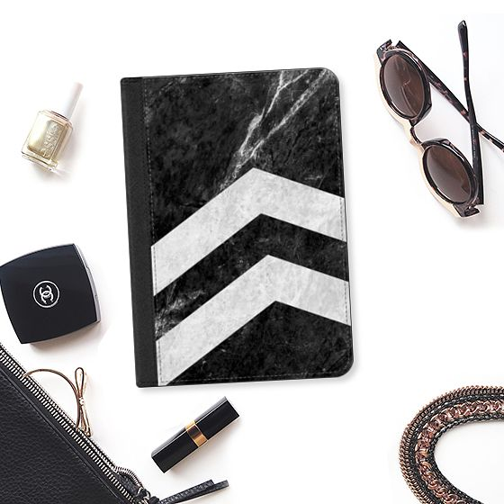 Black 2 Striped Marble - iPad Folio Case #marble #stone #texture #black #white #striped #case #ipad
