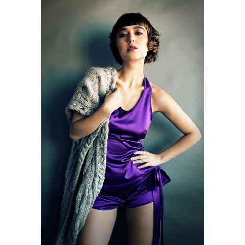 Silk heather cami and yoga shorts from MC Lounge AW12 collection