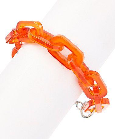 Look at this #zulilyfind! Bright Orange Chain-Ed on Style Bracelet #zulilyfinds