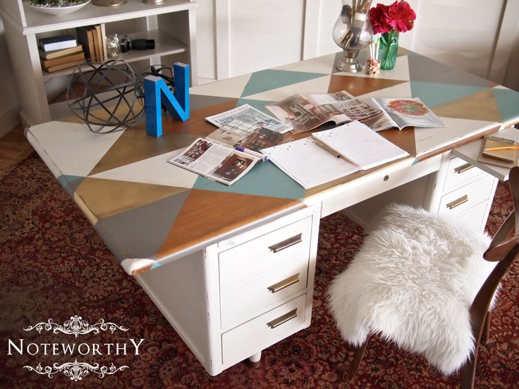 Vintage Tanker Desk with Geometric Pattern in shades of white, grey, turquoise, wood stain, and metallic gold