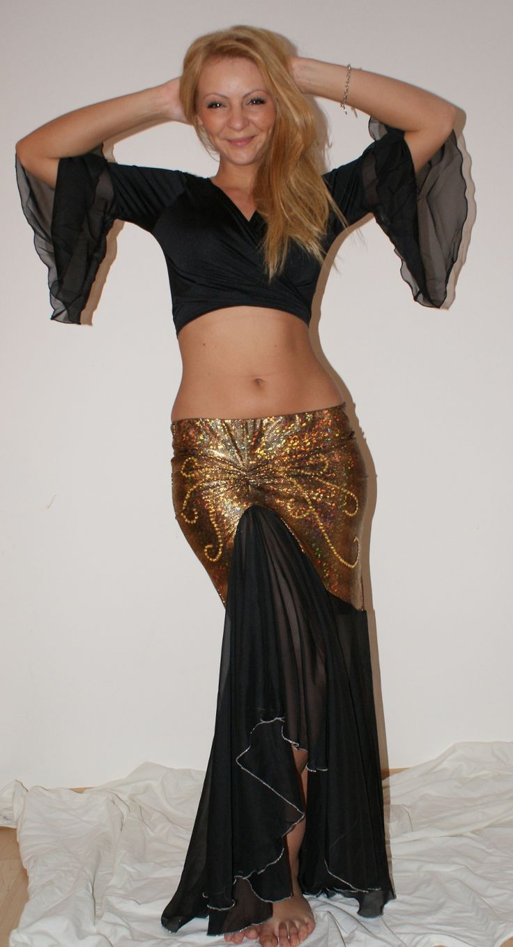 """$28!!!  AND IN MY SIZE!!!  Belly dance skirt """"Black Gold"""" Mermaid - belly dance costumes Belima"""