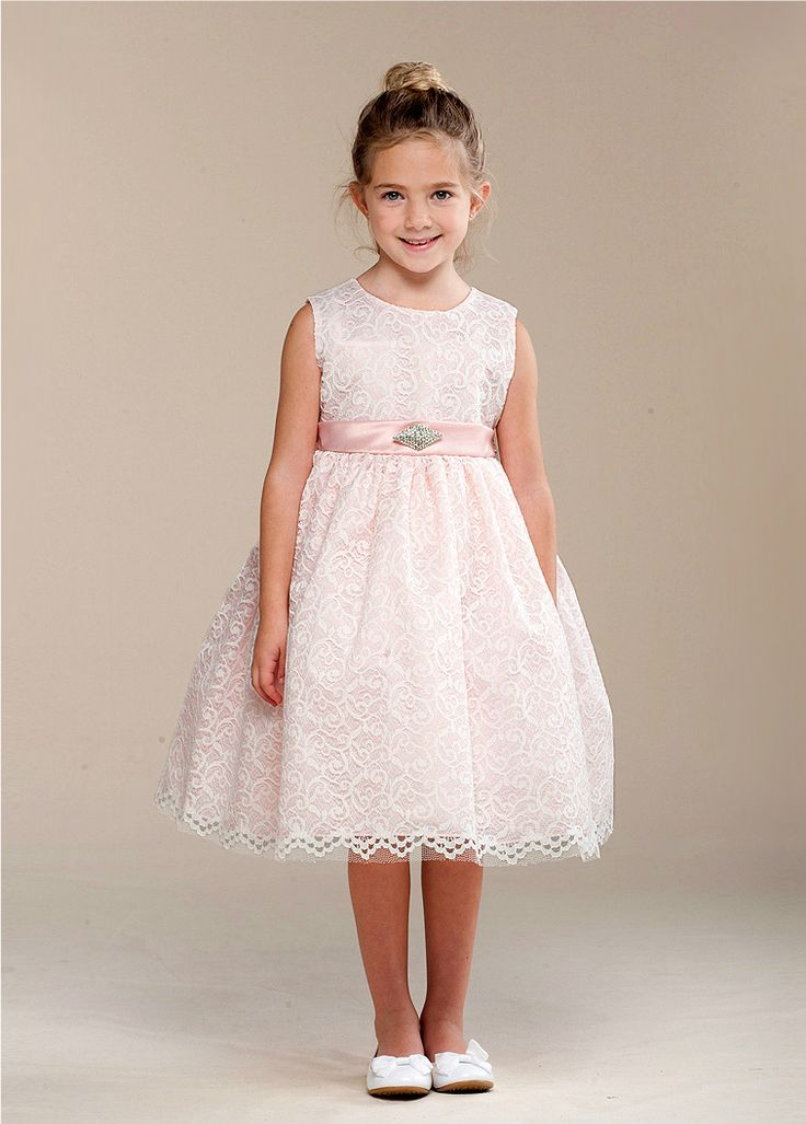 Flower Girl Dress Clementina. Adorable dress in white lace over blush,