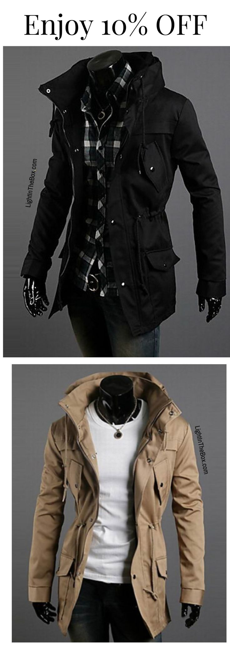 Warm sporty double high collar men wind proof jacket in black, brown, navy blue colours at just $29.69.