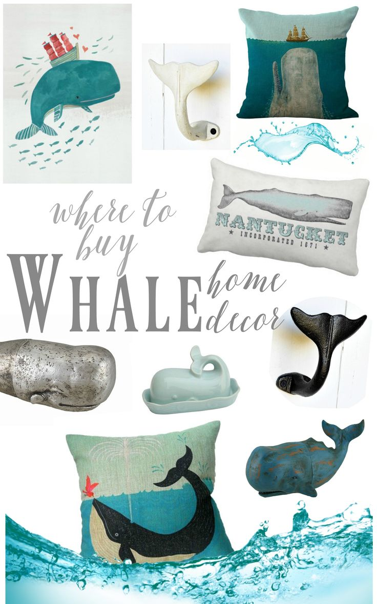 Where to shop for super cute and whimsical whale decor for Beach house decor items