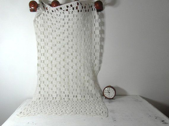 White cotton crochet curtain French cafe by frenchvintagedream