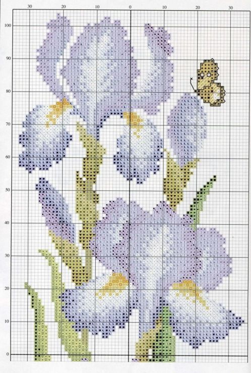 Cross stitch - flowers: Iris (chart - part A)