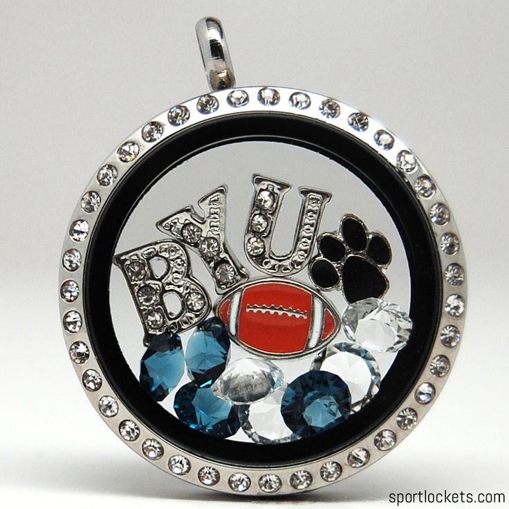 BYU football themed locket necklace from SportLockets.com.  Customize with your own letters!