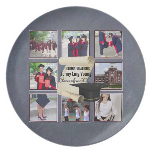 Photo Collage Graduation Keepsake Instagram Named Melamine Plate