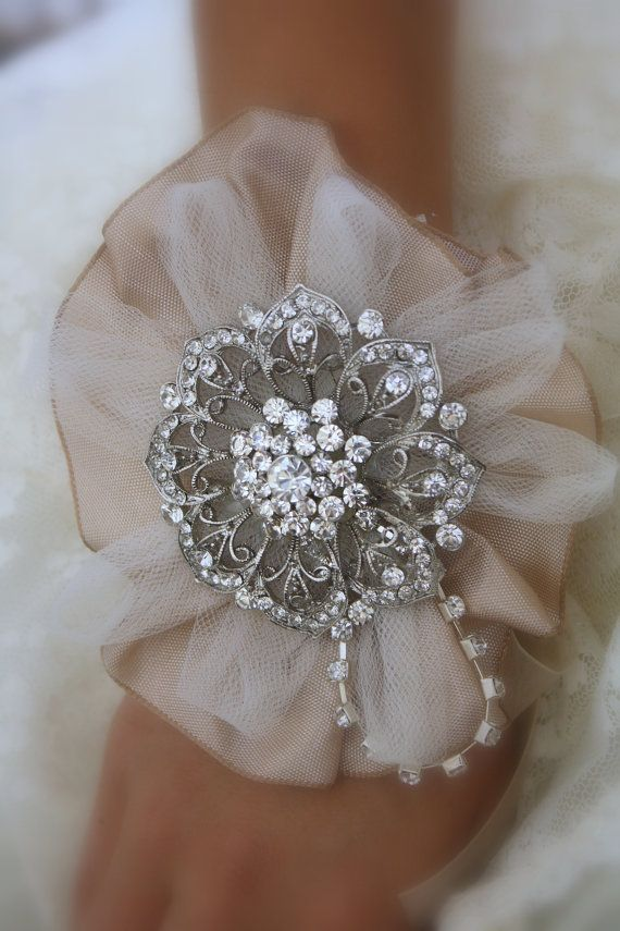 Brooch Wrist Corsage Bridal Wrist Corsage-Wedding by AbbyPlace