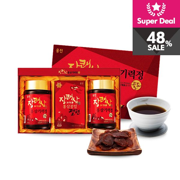 [Woongjin Food red ginseng tea & jeolpyeon] Enjoy healthy snack during the in between season. 6 year old red ginseng tea and jeolpyeon with great taste. Special offer is only available for 160 sets!