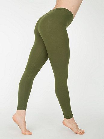 Cotton Spandex Jersey Legging in Olive - American Apparel
