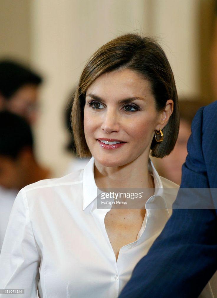 Queen Letizia of Spain receives 'Becas Europa' participants of Francisco de Vitoria University on July 17, 2015 in Madrid, Spain.
