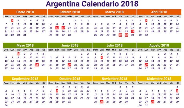 Calendario 2018 argentina (2) - Download Free Printable Calendars 2017 2018 India USA Brazil Spain