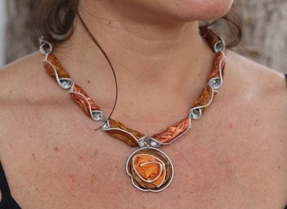 Nespresso coffee capsules jewelry, Recycled, Upcycled, Eco friendly necklace.