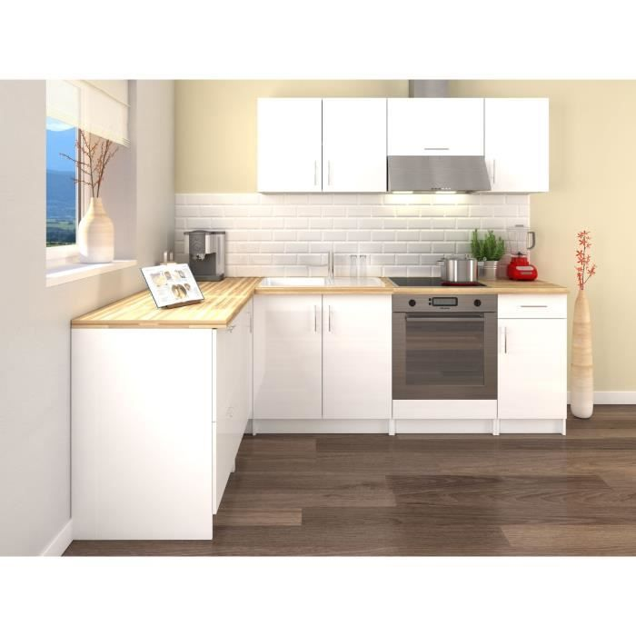 Obi Cuisine Complete D Angle L 280 Cm Blanc Laque Brillant Kitchen Modular Kitchen Remodel Kitchen Cabinets And Granite