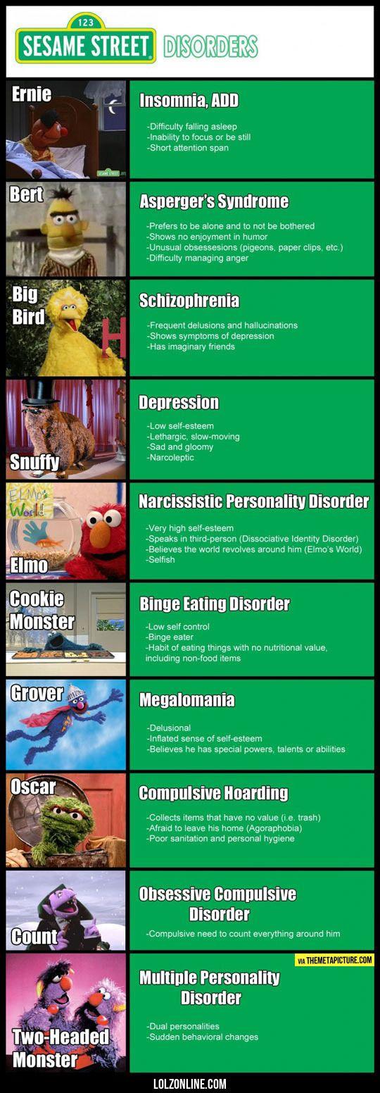 Sesame Street Mental Disorders#funny #lol #lolzonline
