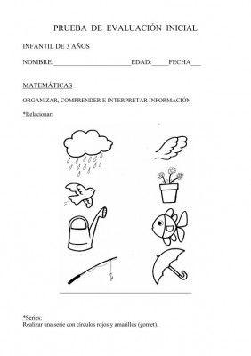 INICIAL INFANTIL 3 AÑOS MATEMATICAS. Evaluación inicial de Orientación Andújar.