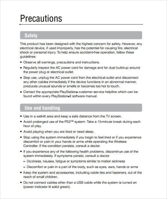 instruction manual templates 10 free printable word pdf