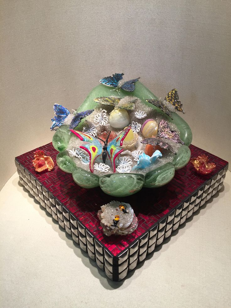 murano glass sculpture/scultura in vetro di murano/glass sculpture with butterflies/handmade/murano glass/butterflies/mosaic di Sanmarcoartedesign su Etsy