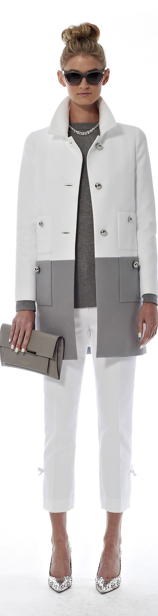 I like the color block on this coat, but probably not in white. Buttons make it more formal than I'm looking for.