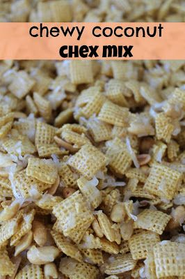 Chewy Coconut Chex Mix is a great snack for a picnic or soccer game! (Road Trip Snack Mix)