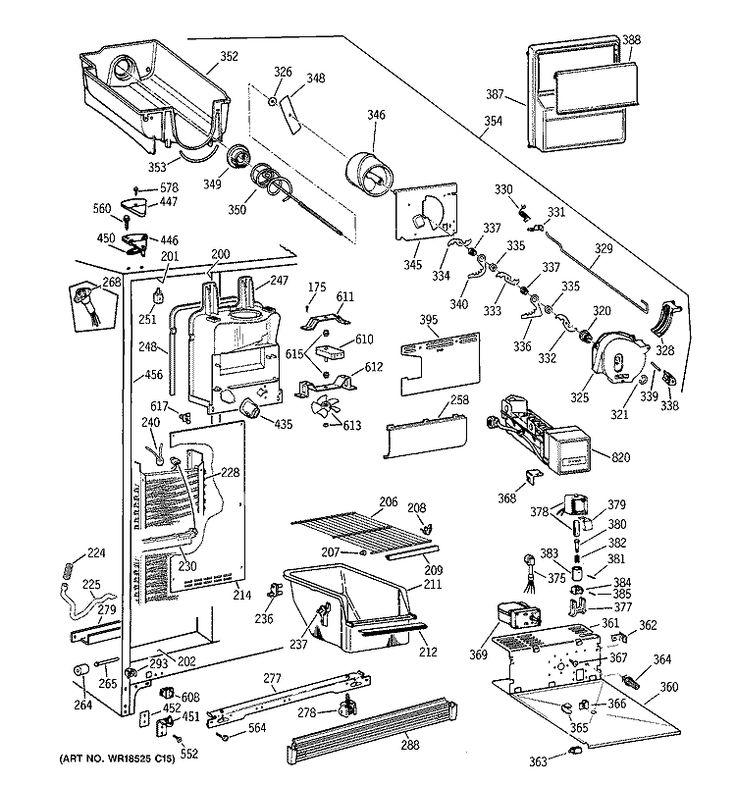 Tfx25kr parts list repair general electric refrigerator