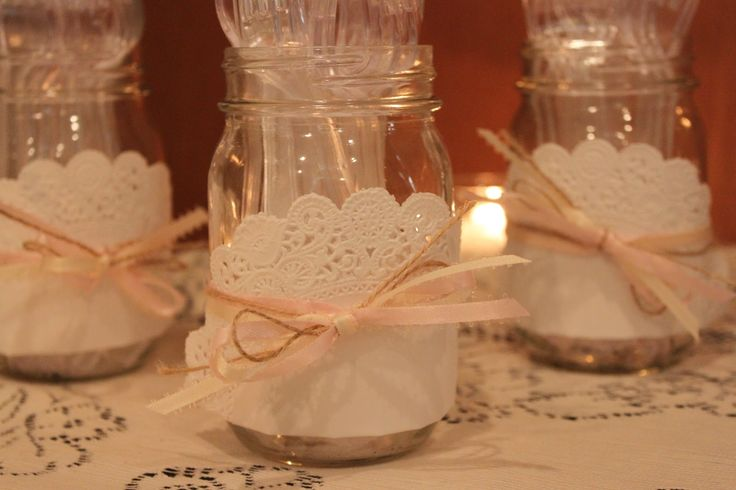 Vintage Baby Girl BabyShower.  Doiley Lace Mason Jar Utensil Holders.  Doiley Ribbon and Twine tied onto a Mason Jar.
