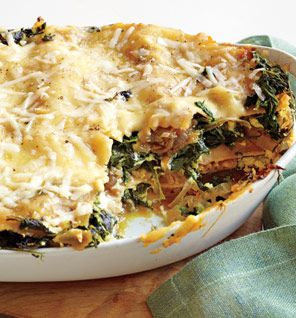 Love this spinach lasagne recipe! Cottage cheese instead of ricotta works great, and  it's good to experiment with the onion/spinach ratio. Healthy vegetarian main dish