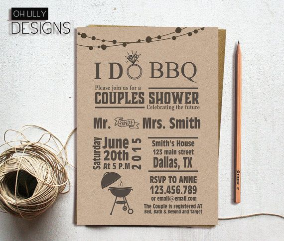 I Do BBQ Couples Shower Invitation BBQ Shower by ohlillydesigns