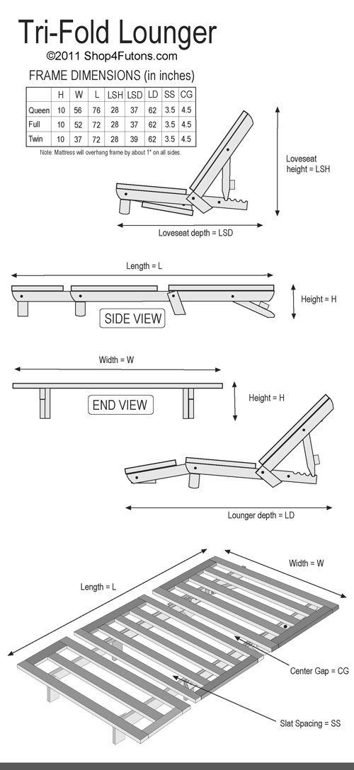 Tri-Fold Lounger Beds Futon Package : Hardwood frame and mattress : Shop4futons.com