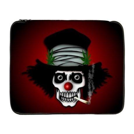 """Toking Skeleton Clown 17"""" Laptop Sleeve"""