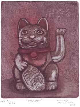 Maneki Neko Lucky Cat  Etching, aquatint, softground  www.anna-maija.com