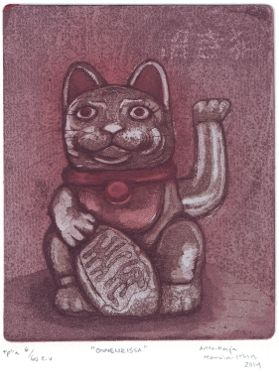 Maneki Neko Lucky Cat  Etching, aquatint, softground  www.anna-maija.com