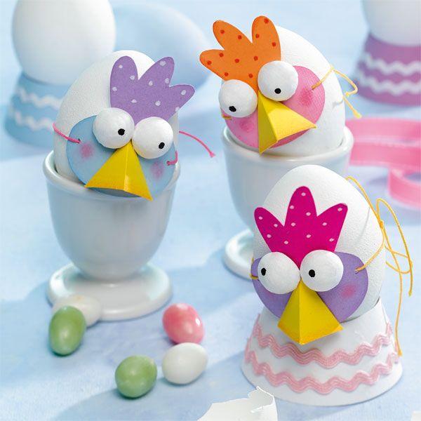Gabarit masque de poule à imprimer pour décorer des œufs de Pâques
