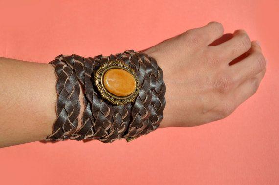 Braided Leather Belt Bracelet Cuff Boho Hippie by theELEPHANTpink, $32.50