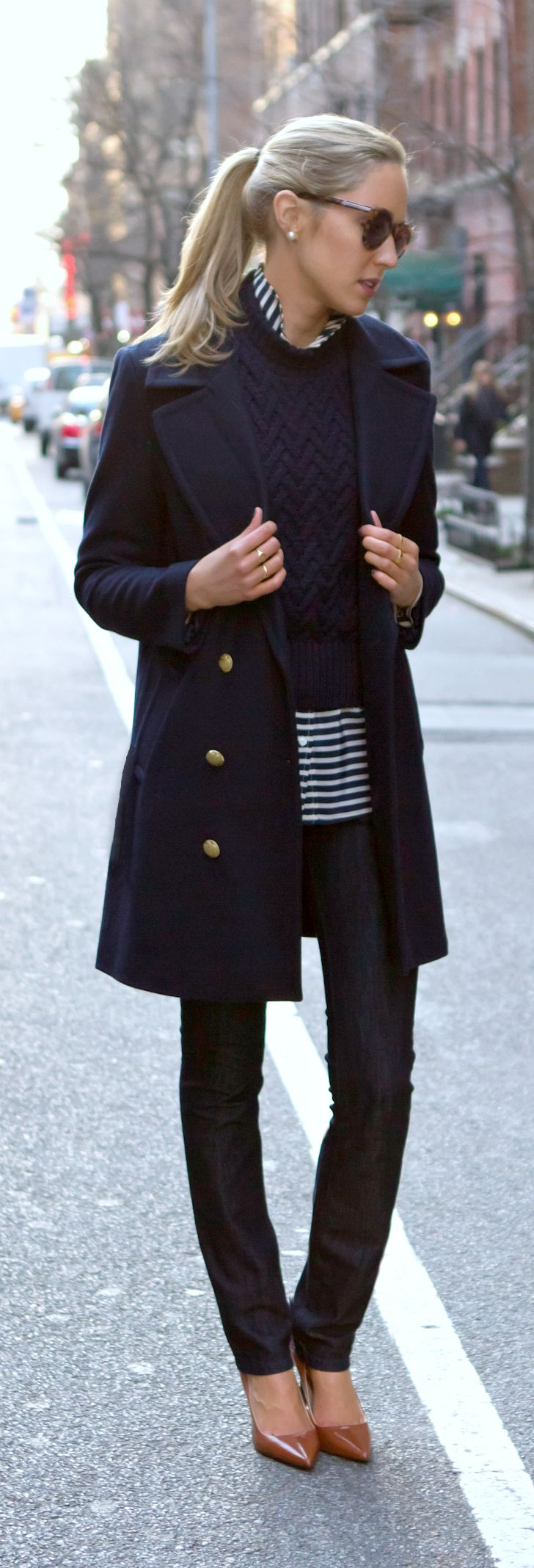 navy coat, striped shirt, cable turtleneck