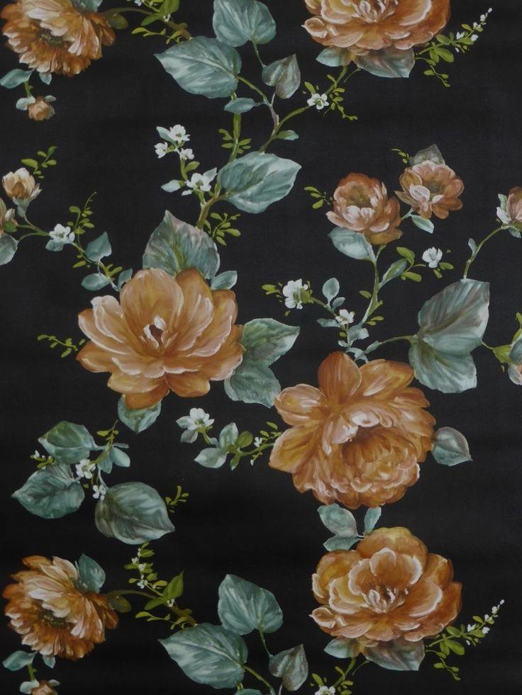vintage bloemenbehang oranje blauw op een zwarte achtergrond - Funkywalls - Dé webshop voor vintage en modern behang