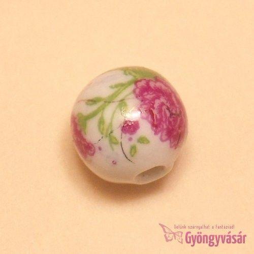 Pünkösdi rózsa, 14 mm-es golyó - porcelán gyöngy • Gyöngyvásár.hu