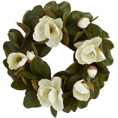 A new classic in any climate and any season, our Faux Magnolia Wreath brings its undeniable grace and charm to your mantel, doorway, picture window or tabletop.