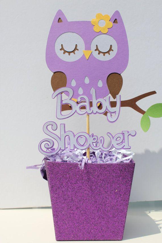 Baby shower sleeping owl centerpiece purple by cricutcrafter1