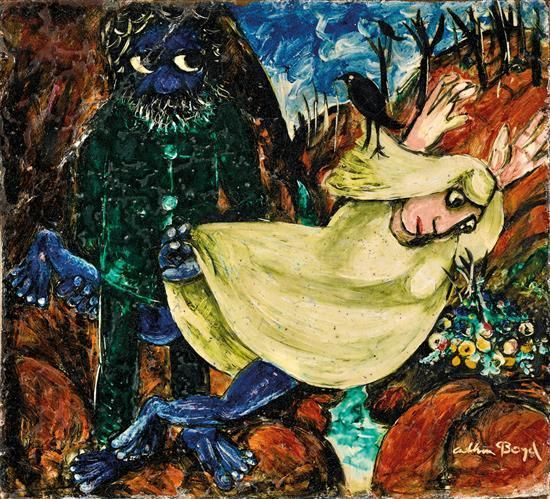 ARTHUR BOYD 1920-1999 The Escaped Bride (1957-1958) earthen wear ceramic. For Auction Nov 2016. Estimate: AUD100,000 - AUD150,000 Description: ARTHUR BOYD  1920-1999  The Escaped Bride (1957-1958)  earthenware ceramic  signed ''Arthur Boyd'' lower right  40.5 x 44.8 cm   PROVENANCE  Lucy Boyd Beck, Melbourne  Private Collection, Melbourne, acquired from the above in circa 1970.