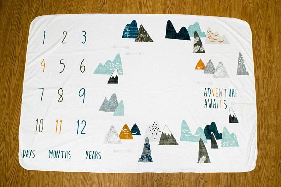 Adventure Awaits Baby Milestone Blanket Max Mountains Monthly