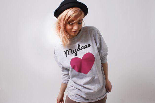 "Longsleeve-Oversized-Shirt ""mydear"" graumelliert love- handmade printed shirt from German design label mydearlove, valentines day , pink heart"