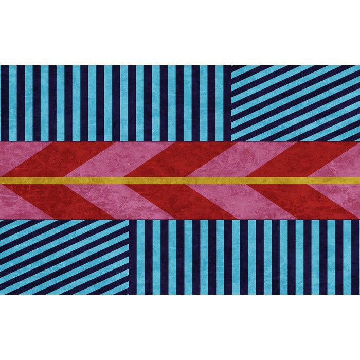 Aztec Blue/Pink Chevron Area Rug