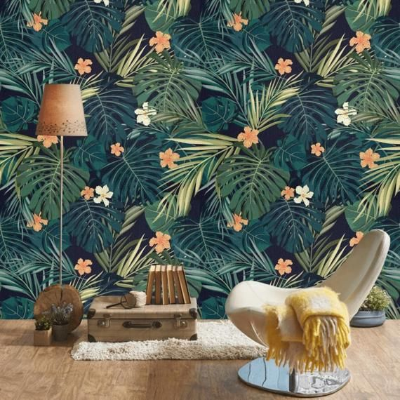 Dark Tropical Wallpaper Peel And Stick Wallpaper Mural Etsy Tropical Wallpaper Wallpaper Accent Wall Tree Removable Wallpaper